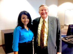 President Richards and Trehixi Galvan-Meza at the forum